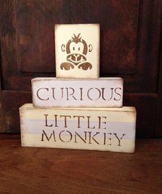S A L E : Monkey Nursery Blocks // nursery decor yellow tan brown rustic room