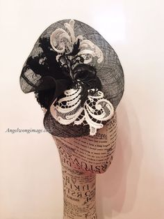 Black and white fascinator wedding party by WomenHatAccessories