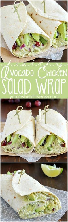 Avocado Chicken Salad Wrap ~ a perfect blend of avocado, Greek yogurt, chicken, celery, grapes, red onion & spices to make your lunch complete...a healthy lunch idea that only takes a few minutes to whip up!