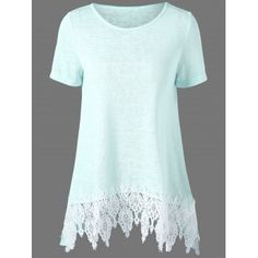 7c2927137441 Lace Hem Longline Tunic T-Shirt. Love that icy color too. I can do icys but  not really pastels.
