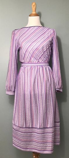 78cd1a2c167 CLEARANCE - 1980 s Striped Dress with Purple