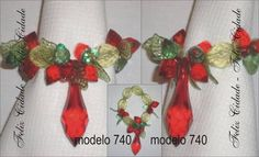 Porta guardanapo confeccionado com peças de acrílico verde e vermelho