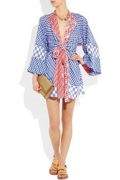 ISSA  Printed silk-chiffon kimono-style mini dress