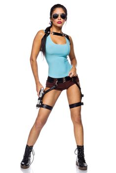 Gamerl Girl Kostüm Fasching Sexy Lara Croft Karneval Damen Action Verkleidung