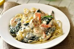 creamy spinach shrimp pasta