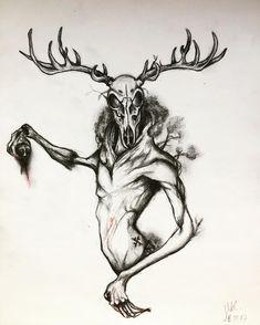 Creepy Drawings, Dark Drawings, Creepy Art, Cool Sketches, Tattoo Sketches, Wendigo Legend, Horror Drawing, Arte Obscura, Dark Tattoo