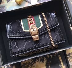 Gucci Sylvie Velvet Chain Bag 494642 Black 2018 Gucci Handbags Sale, Gucci Sylvie, Velvet, Chain, Black, Fashion, Moda, Black People, Fashion Styles