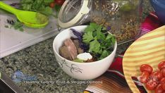 Southwestern Beef in a Bowl  Ingredients (makes 4)  ½ C Quinoa 1 C beef broth or water 1 pound of top sirloin ½ C cilantro 1 C purple cabbage ¼ tsp of crushed red pepper ¼ tsp cumin ¼ t…