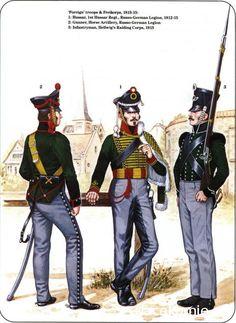 Prussian Reserve, Militia & Irregular Troops 1806-1815_ Foreign troops & Freikorps 1813-15 1-Hussar, 1st Hussar Regt, Russo-german Legion 1812-15 2-Gunner,Horse Artillery, Russo-German Legion 3-Infantryman, Hellwigs raiding corps 1813