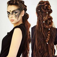 Commander Lexa from look! had lots of fun recreating this hair and ma… Commander Lexa from look! had lots of fun recreating this hair and makeup for a Halloween tutorial coming up! Asymmetrical Hairstyles, Fringe Hairstyles, Everyday Hairstyles, Hairstyles With Bangs, Girl Hairstyles, Hairstyles 2018, Black Hairstyles, Viking Hairstyles, Wedding Hairstyles