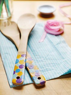 Have your older kids help you create a useful, sentimental and inexpensive gift with just some wooden utensils and paint.  Don't you think Grandma would love receiving these? #ParentsGifts #ParentsMagazine