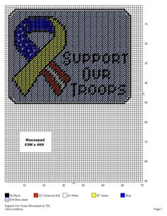 SUPPORT OUR TROOPS MOUSEPAD Plastic Canvas Ornaments, Plastic Canvas Crafts, Plastic Canvas Patterns, American Flag Lapel Pin, D 40, Patriotic Crafts, Awareness Ribbons, Etsy Crafts, Tissue Boxes