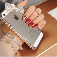 Cute Crystal Bling Diamond Rhinestone Sweet Bow Hard Case Cover For iPhone 5C C