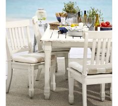 White rubbed wood dining set #potterybarn