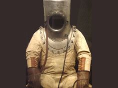 A deep sea diving suit, looks a little scary