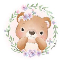 Watercolor Flower Background, Watercolor Rose, Floral Illustrations, Cute Illustration, Disney Drawings, Cute Drawings, Doodles Bonitos, Doodle Bear, Baby Animal Drawings