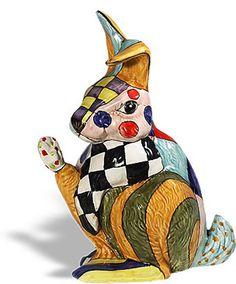 Fantasia Ceramic Rabbit Sculpture Made of Fine Italian Ceramic and Hand Painted. Available at AllSculptures.com
