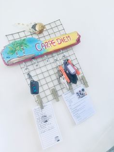 Diy wall grid & key hanger. I have my healthy morning chek list on there from pickuplimes.