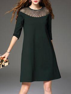 SALE | Shop Mini Dresses - Green Simple Polyester Crew Neck Mini Dress online. Discover unique designers fashion at StyleWe.com.