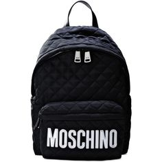 Moschino Rucksack (€415) ❤ liked on Polyvore featuring bags, backpacks, backpack, moschino, silver, day pack backpack, quilted bags, rucksack bag and knapsack bag