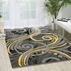 Well Woven Rosa Gold/Gray Rug   Wayfair Yellow Rug, Yellow Area Rugs, Grey Yellow, Gray, Grey And Yellow Living Room, Black And Grey Rugs, Living Room Decor Colors, Bedroom Decor, Modern Area Rugs
