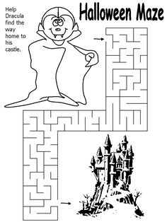 template Halloween Maze, Halloween 2017, Halloween Kids, Halloween Crafts, Halloween Costumes, Halloween Coloring Sheets, Coloring Books, Coloring Pages, Maze Worksheet
