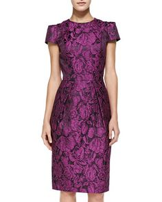 aa8bc0ac4559e Cap-Sleeve Floral Sheath Dress by Carmen Marc Valvo White Label at Neiman  Marcus.
