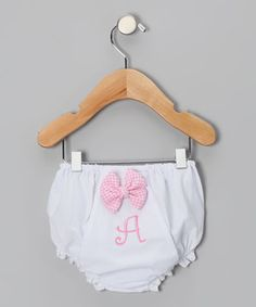 Love this White & Pink Bow Initial Diaper Cover - Infant by Monogrammables by Rosalina on #zulily! #zulilyfinds