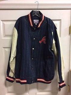Atlanta Braves Jacket -MLB XL Denim Like Cloth Coat Extra Large