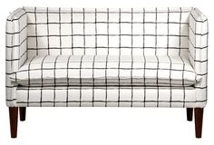 "Bryce 51"" Settee, White/Black"