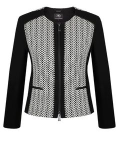 Great. | Black & Vanilla Stretch Jacquard Panel Jacket http://www.antheacrawford.com.au/