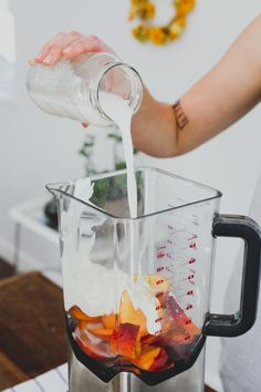 Peaches, ginger & coconut milk! these smoothies are more dessert than healthy meal. Leave out the yogurt and freeze your peaches and would make a great instant ice cream - yum!