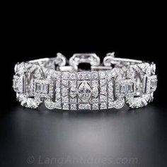 Wide Art Deco Diamond Bracelet - Antique & Vintage Bracelets - Vintage Jewelry