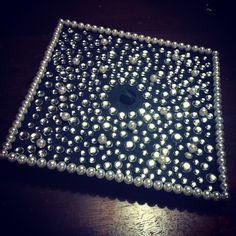 Graduation cap .  Bling . Rhinestones . Crafty . DIY . Pearls . Hot glue .