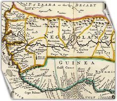 Ancient map from 1747 showing the tribe of Judah on West Coast of