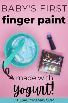 Looking for an edible finger paint recipe for babies? Find out how to make yogurt finger paint in this easy art project for babies and toddler featuring our two ingredient edible fingerpaint recipe. Toddler Art Projects, Valentine's Day Crafts For Kids, Easy Art Projects, Art For Kids, Activities For 1 Year Olds, Sensory Activities, Infant Activities, Edible Finger Paints, Edible Paint