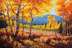 A Bright New Day  24x36 Original LARGE Oil Painting Impressionism Fall Autumn Aspens Birch trees by Carl Bork