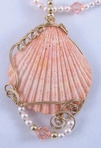 Gold filled wire wrapped clam shell pendant by Frances Lediaev