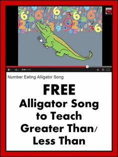 Math Activities - Greater Than or Less Than Teaching Ideas - Your students will love this alligator math song! Math Classroom, Kindergarten Math, Teaching Math, Teaching Ideas, Classroom Ideas, Math Skills, Math Lessons, Math Resources, Math Activities