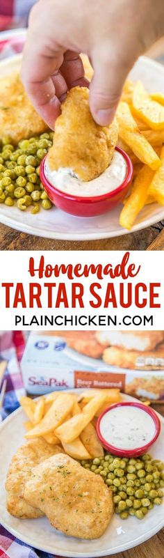 Homemade Tartar Sauce - you'll never buy jarred tartar sauce again!! Perfect with our favorite SeaPak Fish and Chips. This sauce is great on everything, not just fish!! I wanted to lick the bowl!! Would be a great dipping sauce for fried pickles, fried chicken tenders, salmon - really anything!