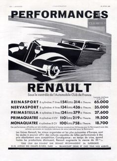 Vintage French Ad  Renault Automobile 1933 by reveriefrance