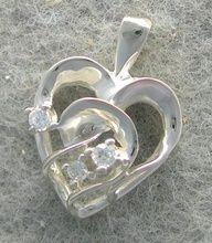 Genuine Diamond Heart Shaped Pendant In 10K White Gold