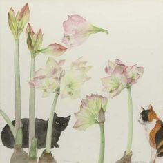 Amaryllis and Cats, Dame Elizabeth Violet Blackadder. Scottish, born in 1931 Women Artist, Cat Plants, Watercolor Art, Watercolour Flowers, Watercolour Paintings, Watercolours, Botanical Art, Cat Art, Female Art