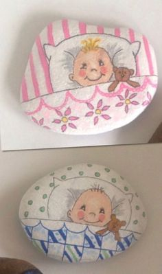 Baby Painting, Pebble Painting, Pebble Art, Stone Painting, Stone Crafts, Rock Crafts, Diy Crafts To Sell, Arts And Crafts, Rock Baby Showers