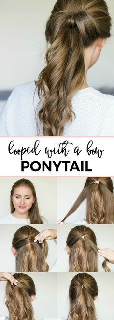 Looped with a bow ponytail - easy 5-minute hair tutorial | Fancy looped ponytail with loose waves hair tutorial | Quick and easy, no-heat hairstyle tutorials with beauty blogger Ashley Brooke Nicholas + the best shampoo and conditioner for dry hair from @PanteneUS ! #StrongisBeautiful sponsored | cute hairstyles, cute hairstyle ideas, easy hair tutorials, quick hair tutorials, back to school hair ideas, work hair ideas, prom hair ideas