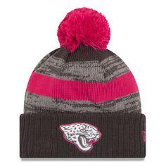 0ef2925ce43 Men s Jacksonville Jaguars New Era Heather Gray 2016 Breast Cancer  Awareness Sideline Cuffed Pom Knit Hat