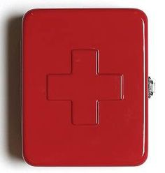Funky. While you certainly could hang this cool Modern Metal First Aid Box from Kikkerland on your wall, and stock it with first aid supplies, we like the idea of filling it with something more unexpected...