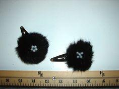 Black Rabbit Faux Pearl Fur Hair Clip set of 2 - Knackster