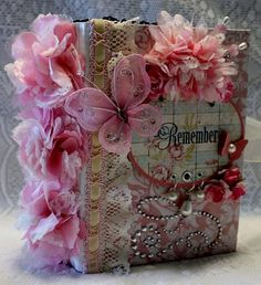 """REMEMBER"" girly shabby vintage premade scrapbook album"