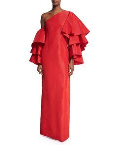 Bidi+Bidi+Bom+Bom+Gown+w/Detachable+Ruffle+Sleeves,+Red+by+Rosie+Assoulin+at+Bergdorf+Goodman.